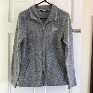 Grey North Face Zip Up Sweatshirt